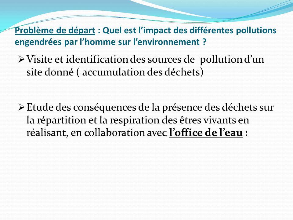 Problème de départ : Quel est limpact des différentes pollutions engendrées par lhomme sur lenvironnement ? Visite et identification des sources de po