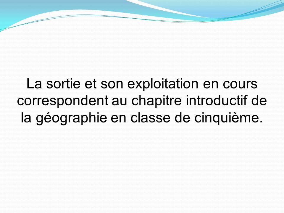 La sortie et son exploitation en cours correspondent au chapitre introductif de la géographie en classe de cinquième.