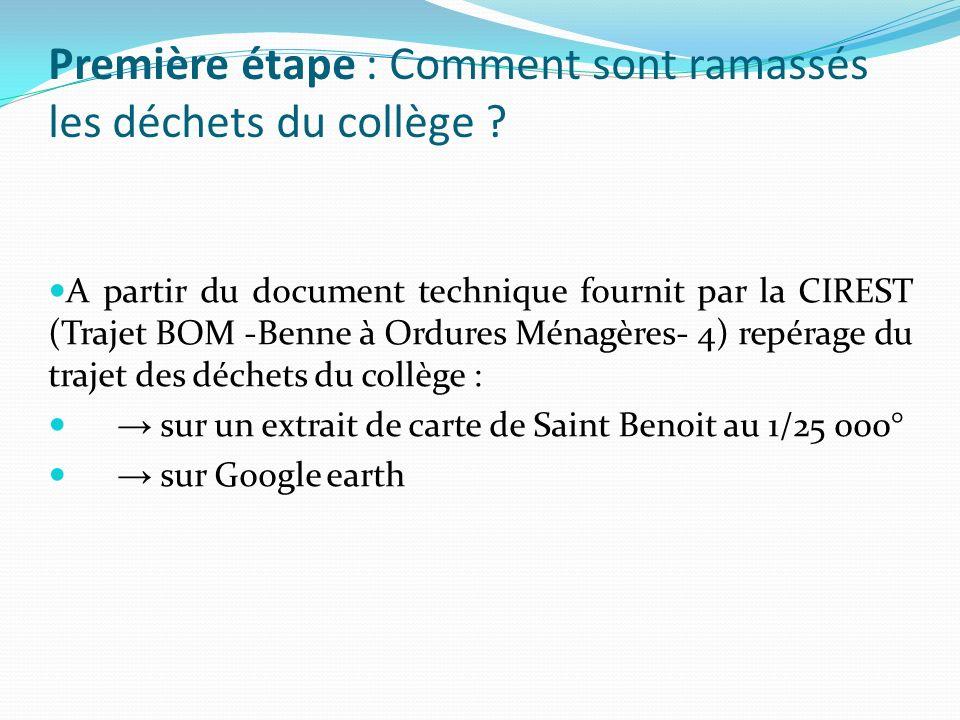 A partir du document technique fournit par la CIREST (Trajet BOM -Benne à Ordures Ménagères- 4) repérage du trajet des déchets du collège : sur un ext