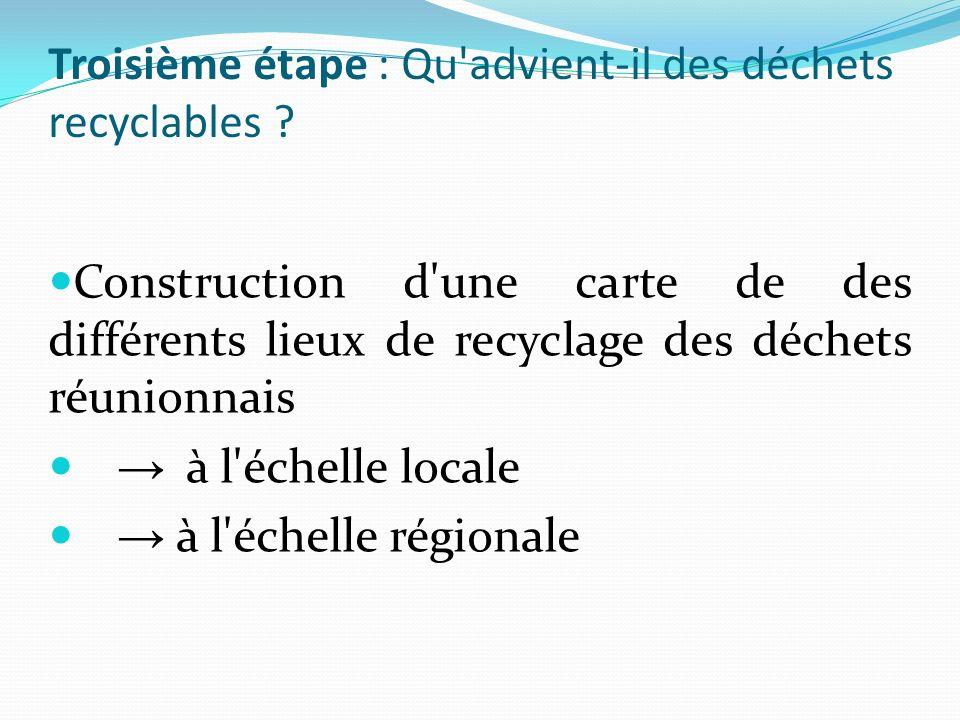 Construction d'une carte de des différents lieux de recyclage des déchets réunionnais à l'échelle locale à l'échelle régionale