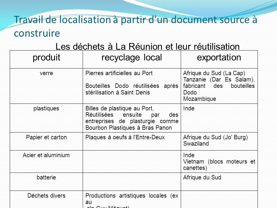 Travail de localisation à partir d'un document source à construire produitrecyclage localexportation verrePierres artificielles au Port Bouteilles Dod