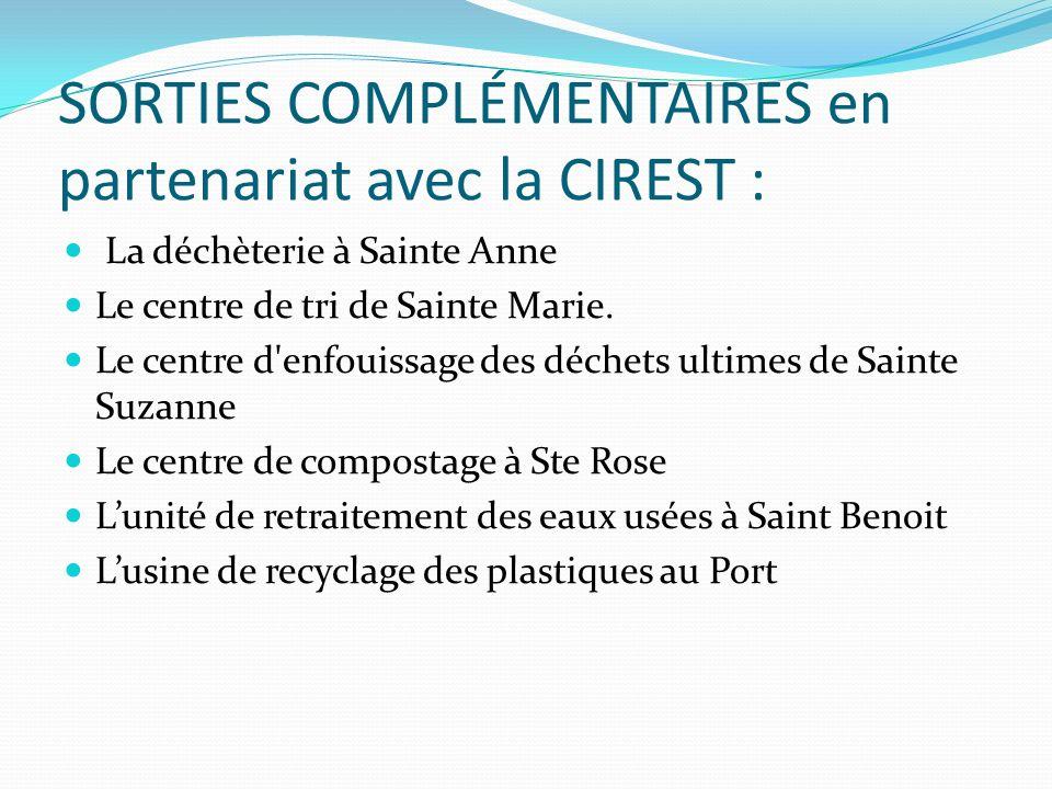 SORTIES COMPLÉMENTAIRES en partenariat avec la CIREST : La déchèterie à Sainte Anne Le centre de tri de Sainte Marie. Le centre d'enfouissage des déch