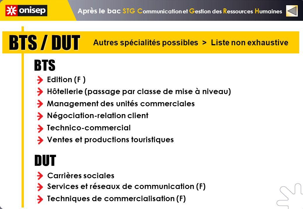 BTS / DUT Autres spécialités possibles > Liste non exhaustive BTS Edition (F ) Hôtellerie (passage par classe de mise à niveau) Management des unités