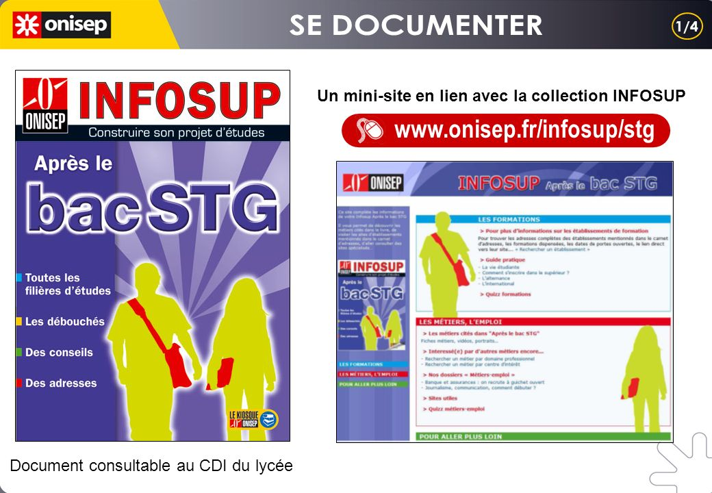 Un mini-site en lien avec la collection INFOSUP www.onisep.fr/infosup/stg Document consultable au CDI du lycée 1/4