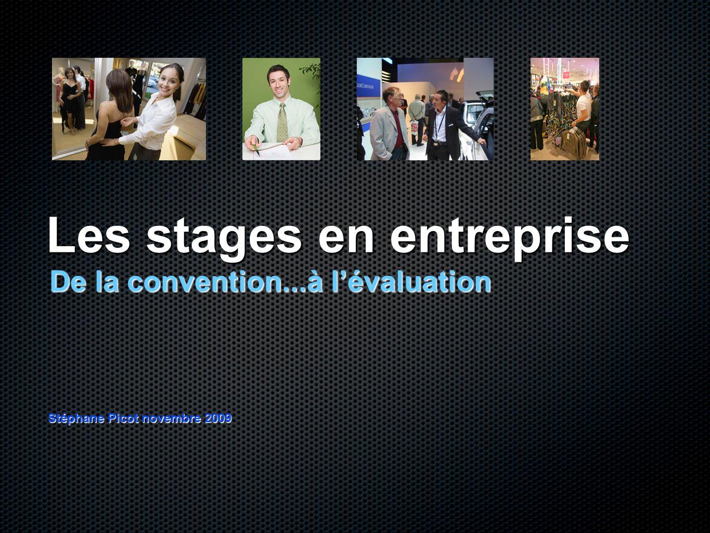 Les stages en entreprise De la convention...à lévaluation Stéphane Picot novembre 2009