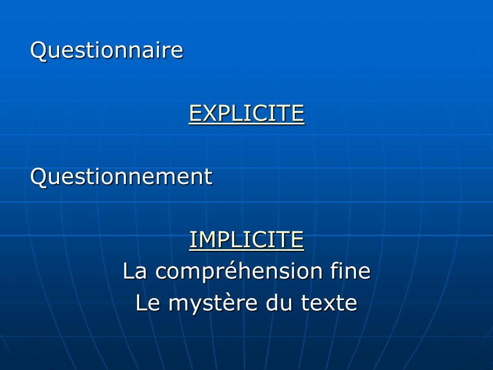 Questionnaire EXPLICITE Questionnement IMPLICITE La compréhension fine Le mystère du texte
