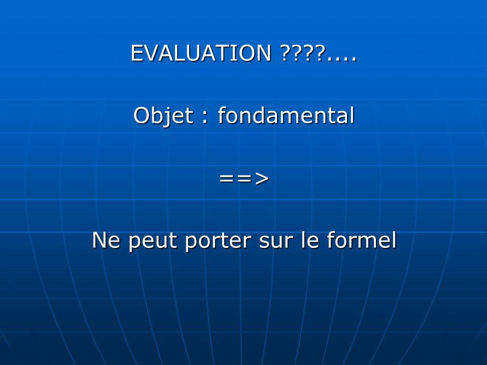 EVALUATION .... Objet : fondamental ==> Ne peut porter sur le formel