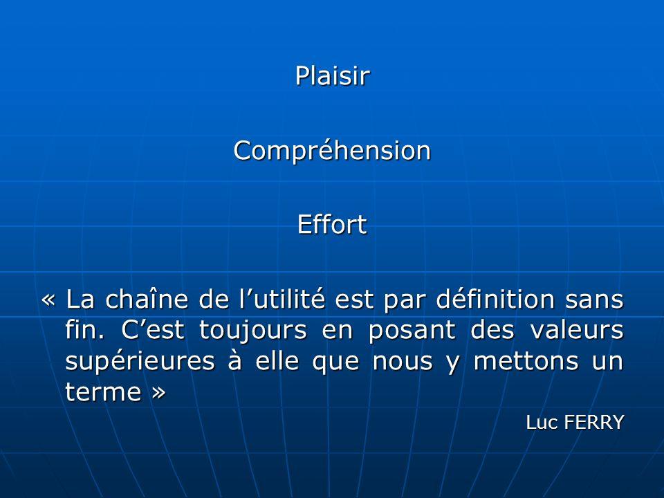 PlaisirCompréhensionEffort « La chaîne de lutilité est par définition sans fin.