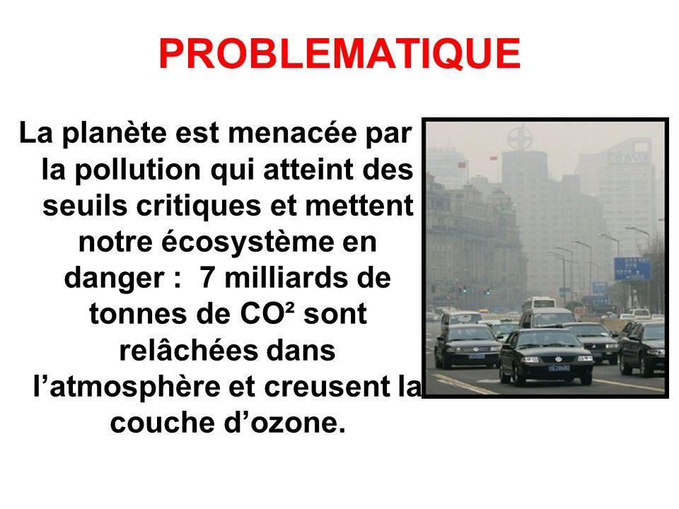 PROBLEMATIQUE La planète est menacée par la pollution qui atteint des seuils critiques et mettent notre écosystème en danger : 7 milliards de tonnes d