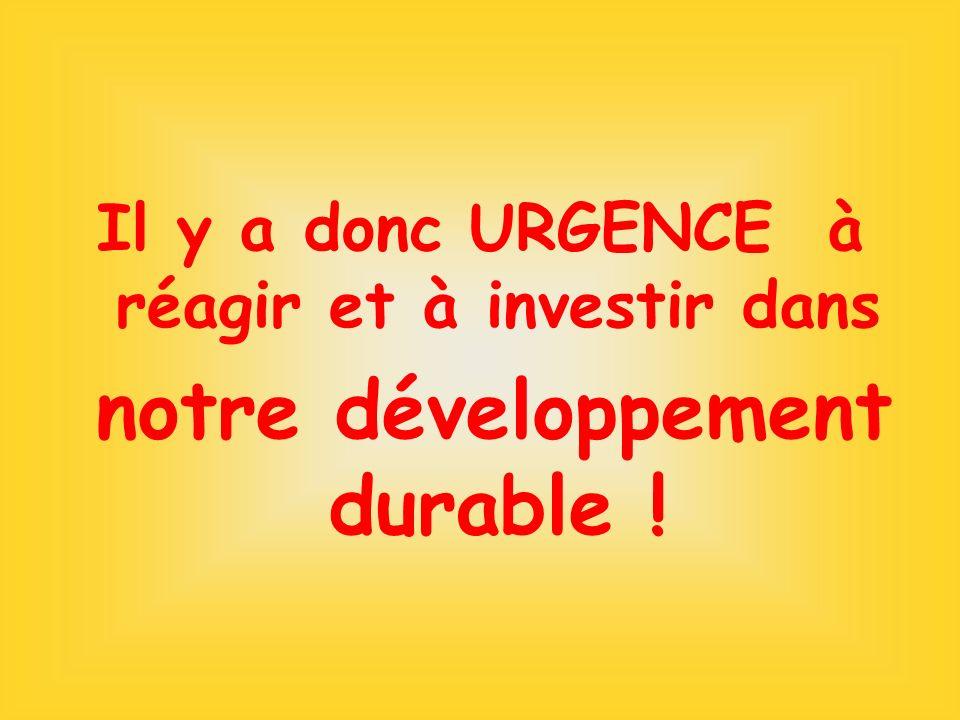 Il y a donc URGENCE à réagir et à investir dans notre développement durable !