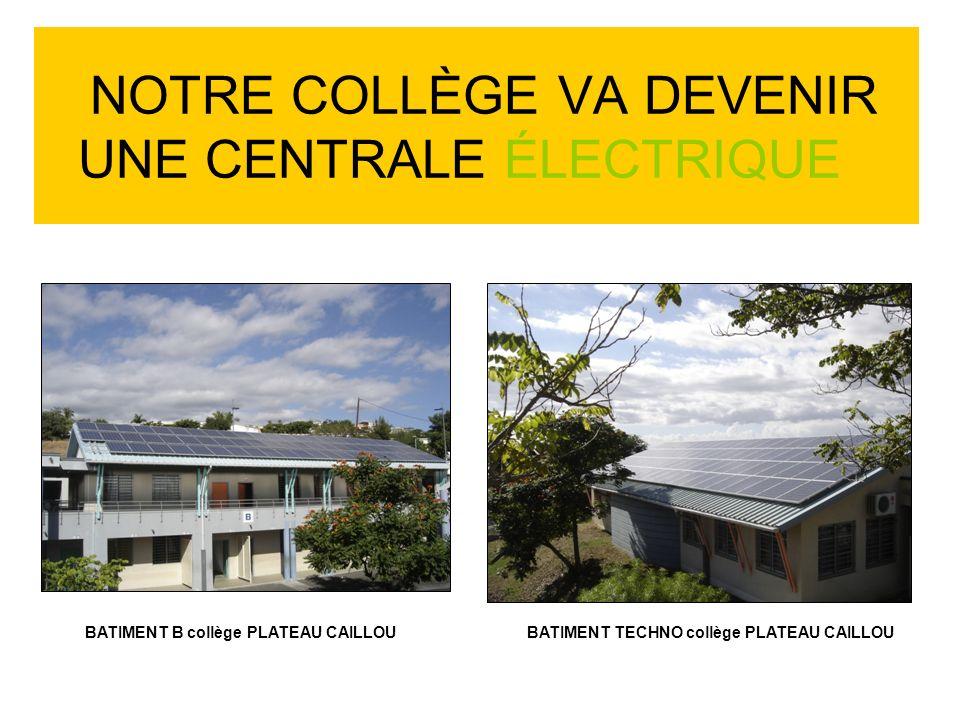 NOTRE COLLÈGE VA DEVENIR UNE CENTRALE ÉLECTRIQUE BATIMENT B collège PLATEAU CAILLOUBATIMENT TECHNO collège PLATEAU CAILLOU
