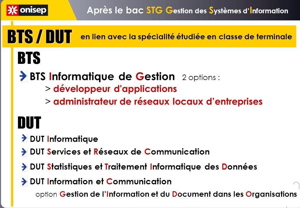 BTS / DUT Après le bac STG G estion des S ystèmes d I nformation BTS Informatique de Gestion 2 options : > développeur d'applications > administrateur