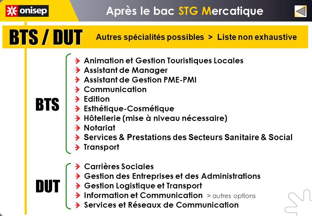 BTS / DUT Autres spécialités possibles > Liste non exhaustive Animation et Gestion Touristiques Locales Assistant de Manager Assistant de Gestion PME-