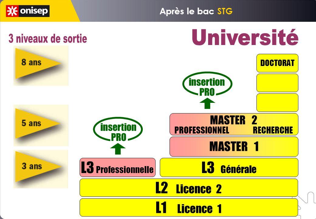 L1 Licence 1 L2 Licence 2 L3 Professionnelle L3 Générale MASTER 1 DOCTORAT insertion PRO insertion PRO MASTER 2 PROFESSIONNEL RECHERCHE Après le bac STG