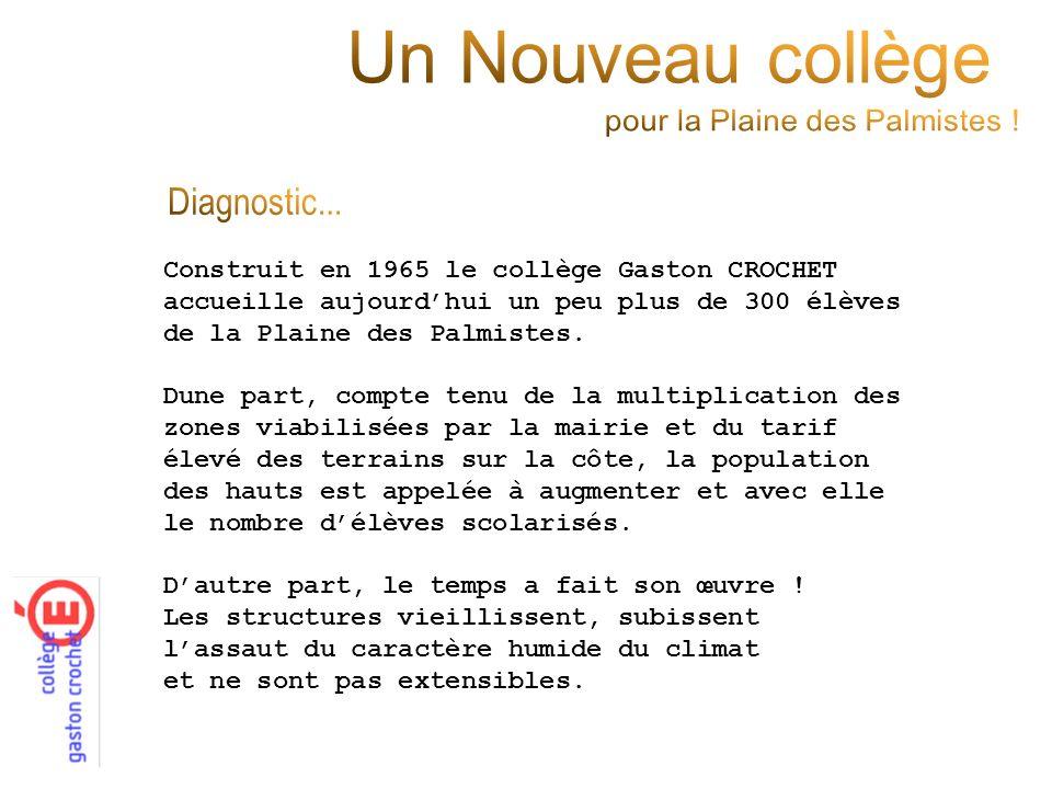 Construit en 1965 le collège Gaston CROCHET accueille aujourdhui un peu plus de 300 élèves de la Plaine des Palmistes. Dune part, compte tenu de la mu