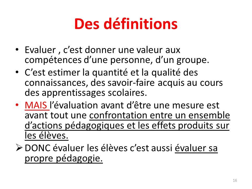 Des définitions Evaluer, cest donner une valeur aux compétences dune personne, dun groupe. Cest estimer la quantité et la qualité des connaissances, d
