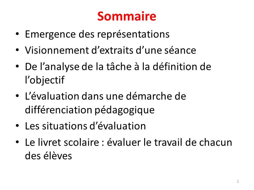 Sommaire Emergence des représentations Visionnement dextraits dune séance De lanalyse de la tâche à la définition de lobjectif Lévaluation dans une dé