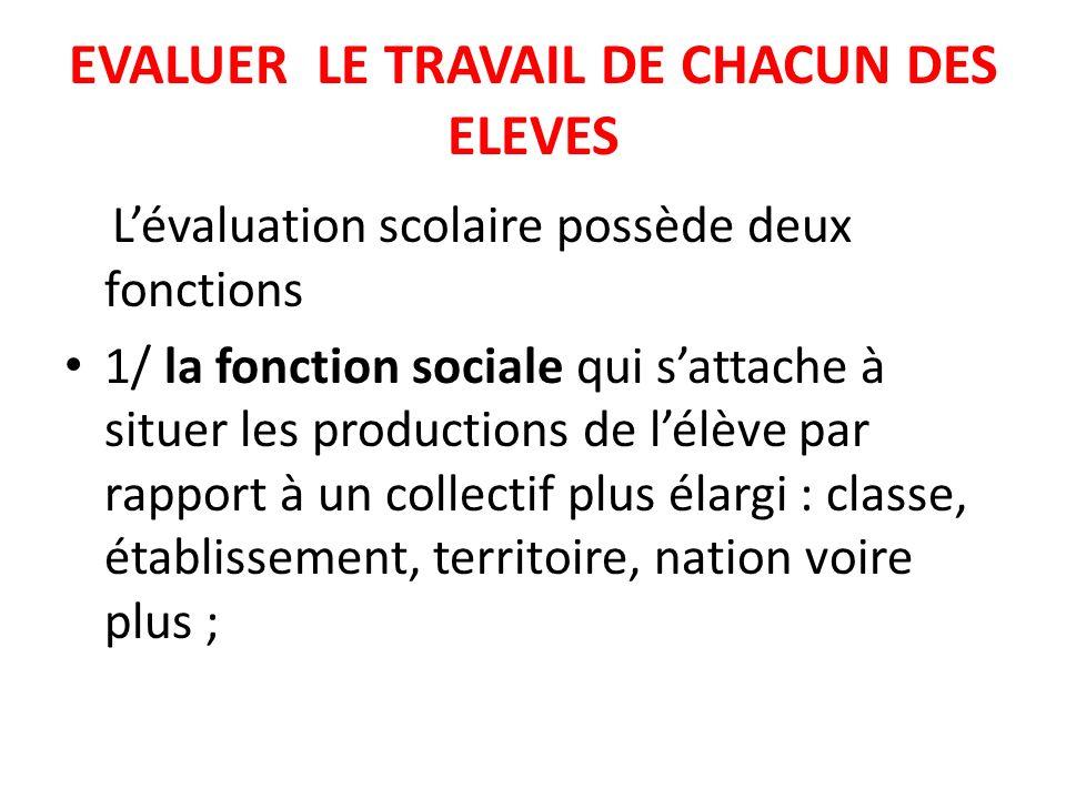 Lévaluation scolaire possède deux fonctions 1/ la fonction sociale qui sattache à situer les productions de lélève par rapport à un collectif plus éla