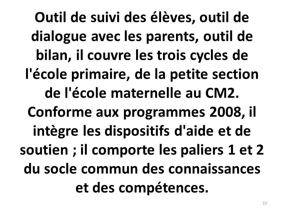 Outil de suivi des élèves, outil de dialogue avec les parents, outil de bilan, il couvre les trois cycles de l'école primaire, de la petite section de
