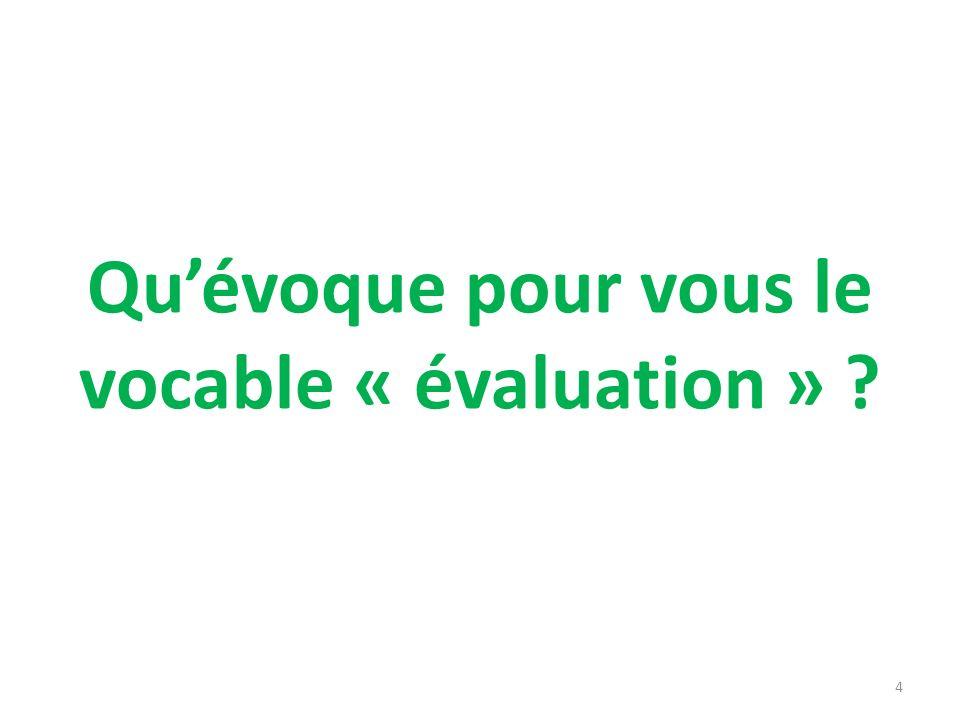 Quévoque pour vous le vocable « évaluation » ? 4