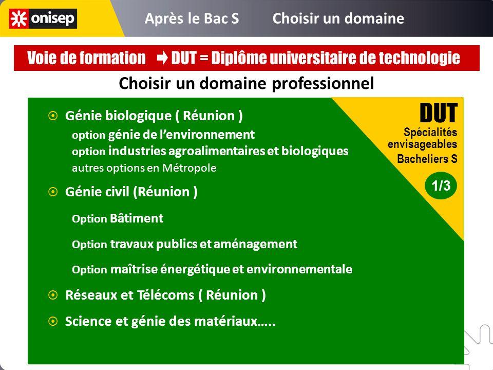 Choisir un domaine professionnel Génie biologique ( Réunion ) option génie de lenvironnement option industries agroalimentaires et biologiques autres