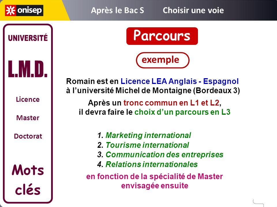 Licence Master Doctorat Mots clés Parcours 1. Marketing international 2. Tourisme international 3. Communication des entreprises 4. Relations internat