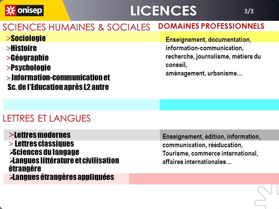 3/3 SCIENCES HUMAINES & SOCIALES DOMAINES PROFESSIONNELS Enseignement, documentation, information-communication, recherche, journalisme, métiers du co