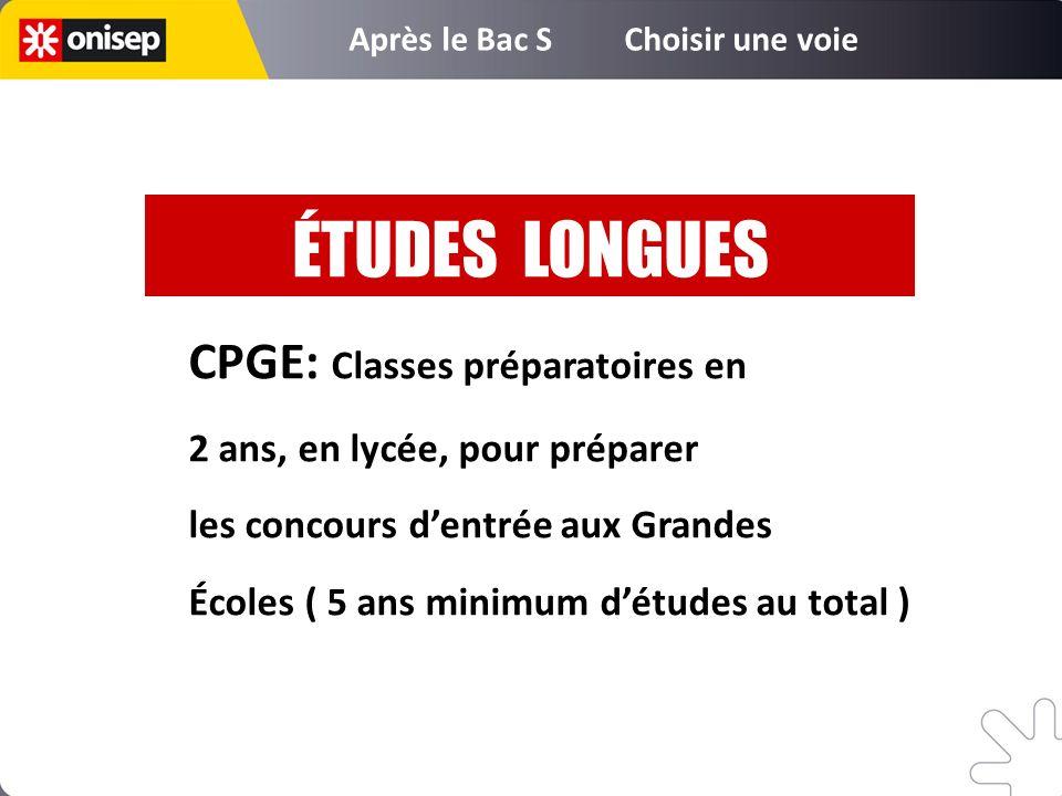 CPGE: Classes préparatoires en 2 ans, en lycée, pour préparer les concours dentrée aux Grandes Écoles ( 5 ans minimum détudes au total ) ÉTUDES LONGUE
