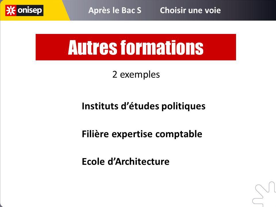 Instituts détudes politiques Filière expertise comptable Ecole dArchitecture Autres formations 2 exemples Après le Bac S Choisir une voie