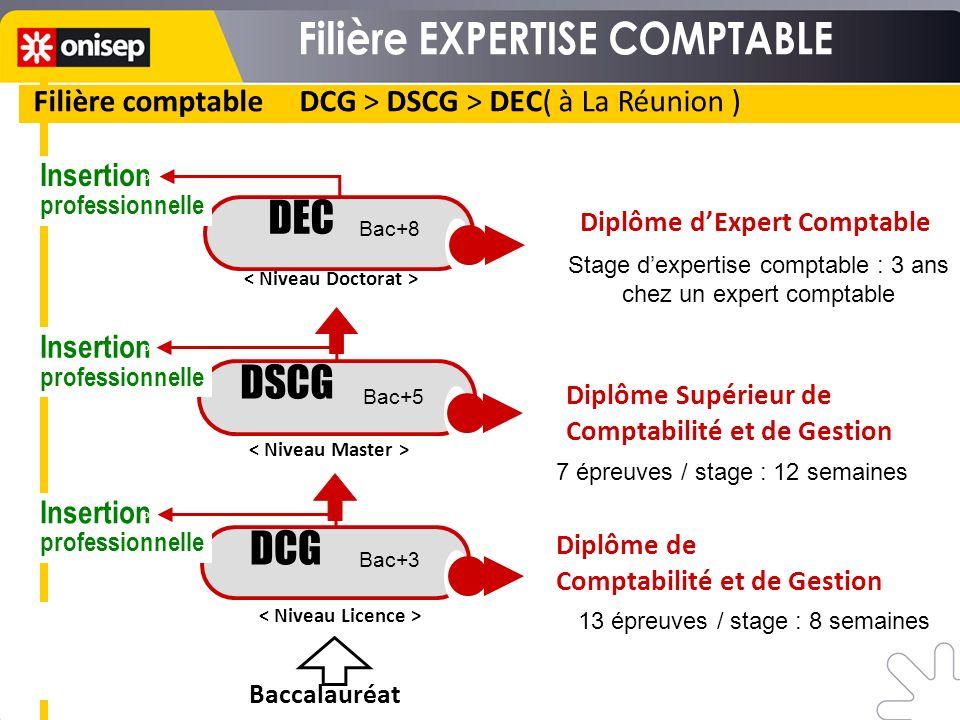 Filière comptable DCG > DSCG > DEC( à La Réunion ) DSCG DEC Stage dexpertise comptable : 3 ans chez un expert comptable 7 épreuves / stage : 12 semain