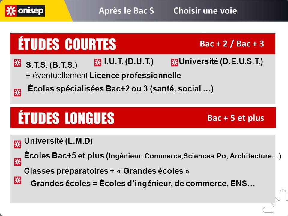 Bac + 5 et plus ÉTUDES LONGUES ÉTUDES COURTES Bac + 2 / Bac + 3 Université (L.M.D) Écoles Bac+5 et plus ( Ingénieur, Commerce,Sciences Po, Architectur