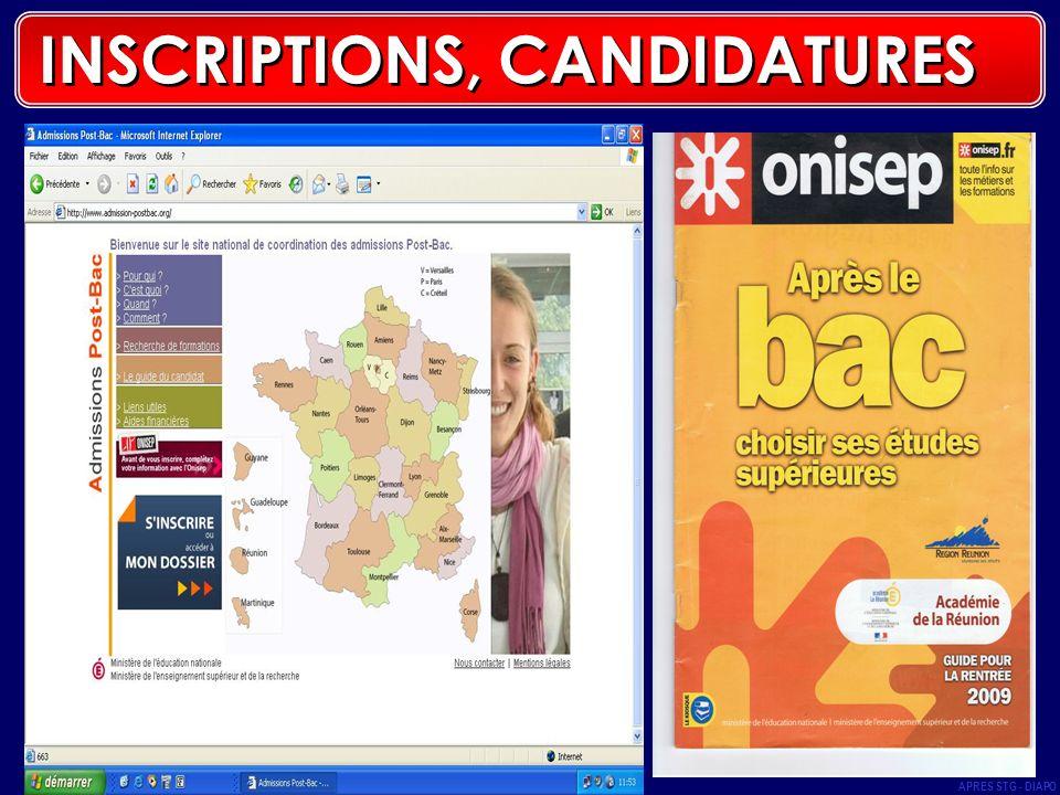 APRES STG - DIAPO 48 INSCRIPTIONS, CANDIDATURES