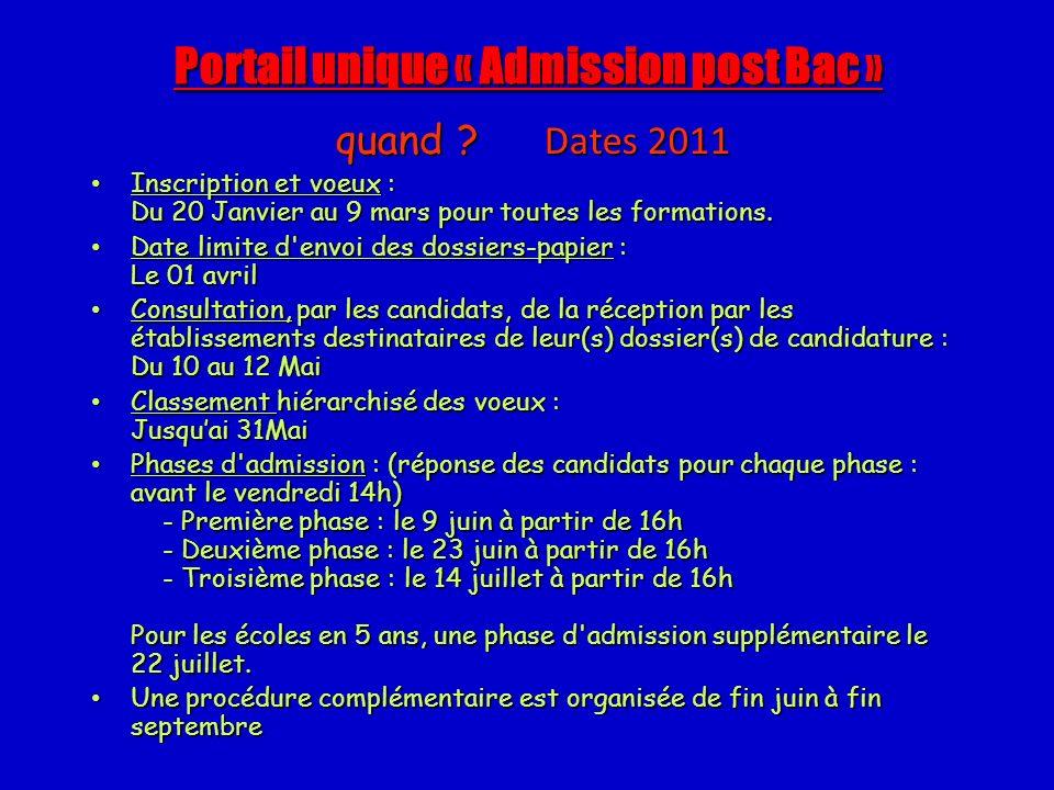 Portail unique « Admission post Bac » quand ? Dates 2011 Inscription et voeux : Du 20 Janvier au 9 mars pour toutes les formations. Inscription et voe