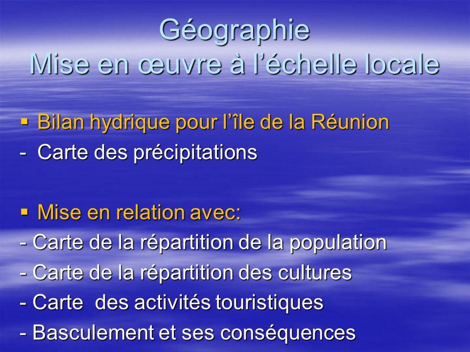 Géographie Mise en œuvre à léchelle locale Bilan hydrique pour lîle de la Réunion Bilan hydrique pour lîle de la Réunion -Carte des précipitations Mis