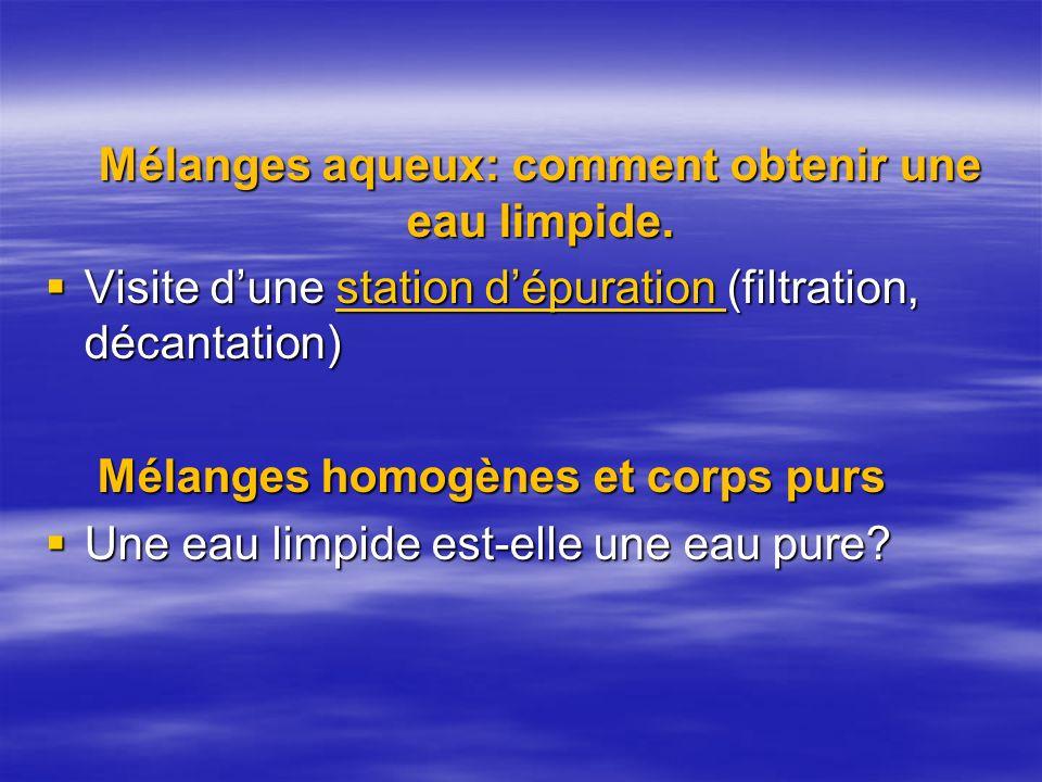 Mélanges aqueux: comment obtenir une eau limpide. Visite dune station dépuration (filtration, décantation) Visite dune station dépuration (filtration,
