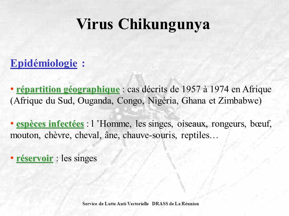Service de Lutte Anti-Vectorielle DRASS de La Réunion Virus Chikungunya Epidémiologie : répartition géographique répartition géographique : cas décrit