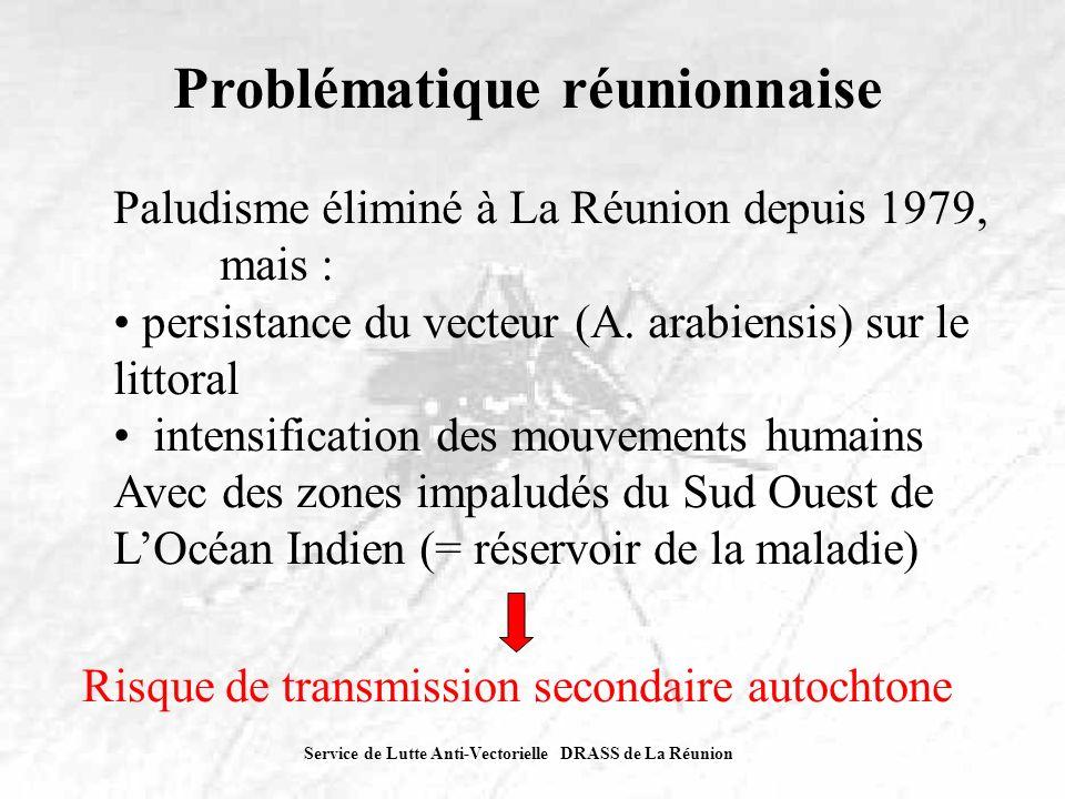 Service de Lutte Anti-Vectorielle DRASS de La Réunion Problématique réunionnaise Paludisme éliminé à La Réunion depuis 1979, mais : persistance du vec
