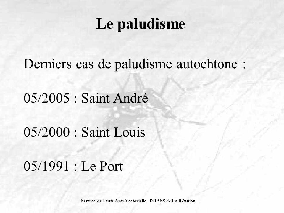 Service de Lutte Anti-Vectorielle DRASS de La Réunion Le paludisme Derniers cas de paludisme autochtone : 05/2005 : Saint André 05/2000 : Saint Louis