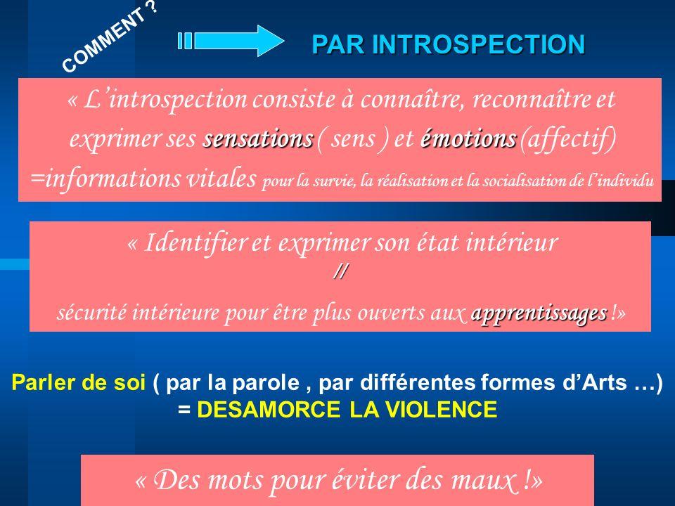 PAR INTROSPECTION sensationsémotions « Lintrospection consiste à connaître, reconnaître et exprimer ses sensations ( sens ) et émotions (affectif) =in