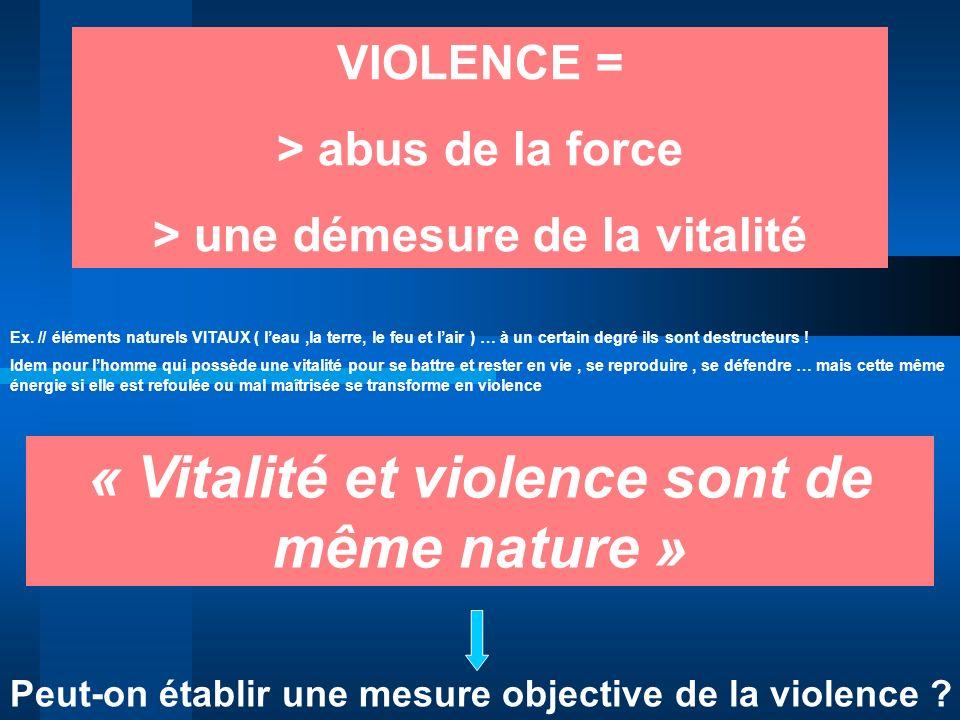 VIOLENCE = > abus de la force > une démesure de la vitalité « Vitalité et violence sont de même nature » Peut-on établir une mesure objective de la vi