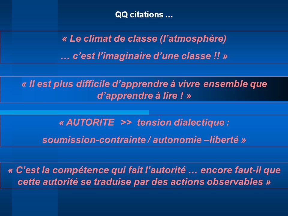 QQ citations … « Le climat de classe (latmosphère) … cest limaginaire dune classe !! » « Il est plus difficile dapprendre à vivre ensemble que dappren
