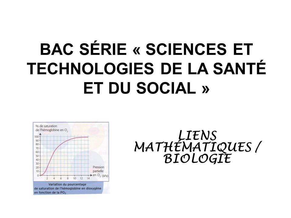 BAC SÉRIE « SCIENCES ET TECHNOLOGIES DE LA SANTÉ ET DU SOCIAL » LIENS MATHÉMATIQUES / BIOLOGIE