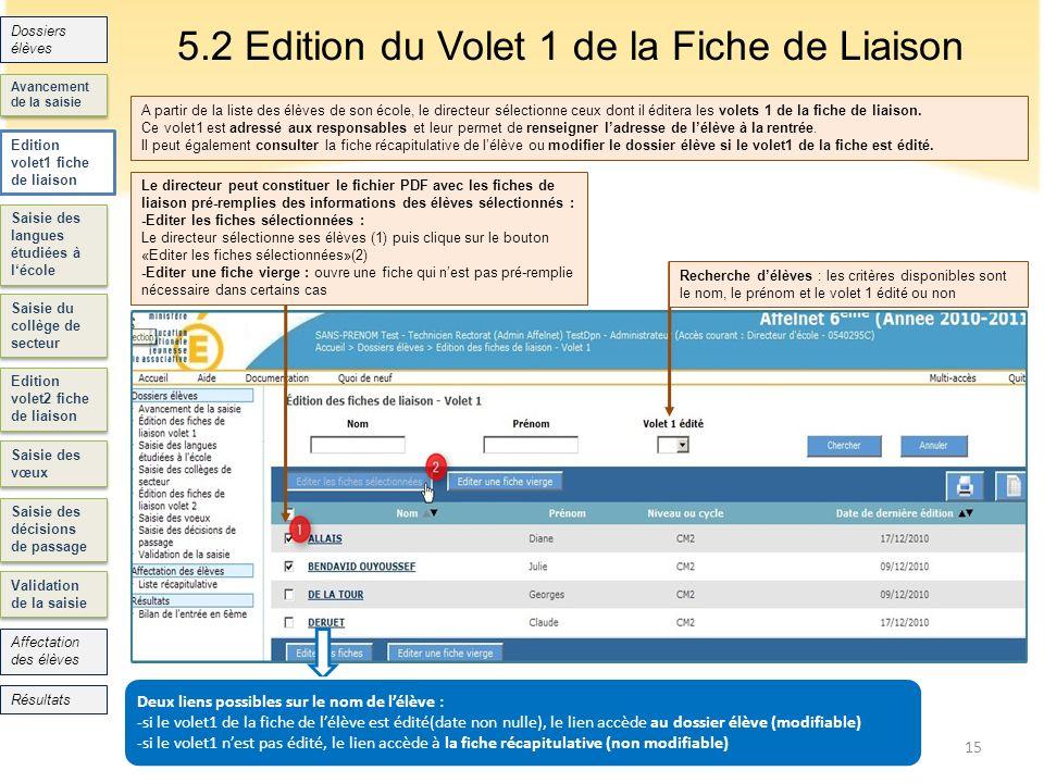 5.2 Edition du Volet 1 de la Fiche de Liaison 15 Saisie des langues étudiées à lécole Saisie du collège de secteur Edition volet2 fiche de liaison Sai