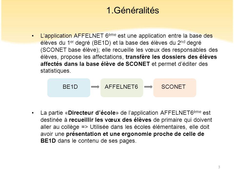 Lapplication AFFELNET 6 ème est une application entre la base des élèves du 1 er degré (BE1D) et la base des élèves du 2 nd degré (SCONET base élève);