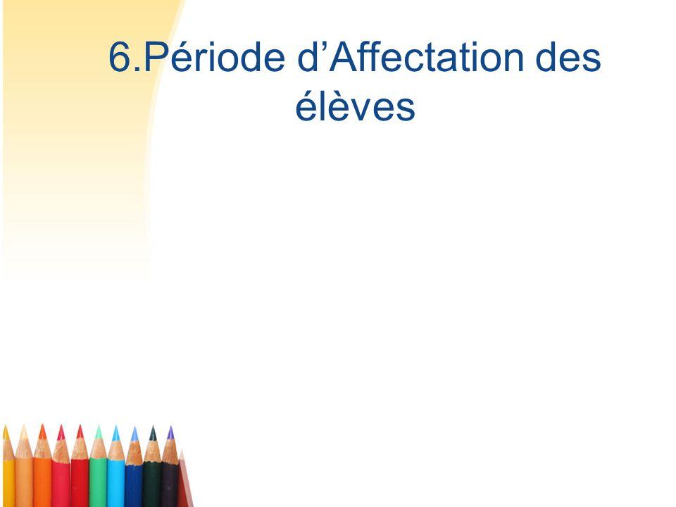 6.Période dAffectation des élèves