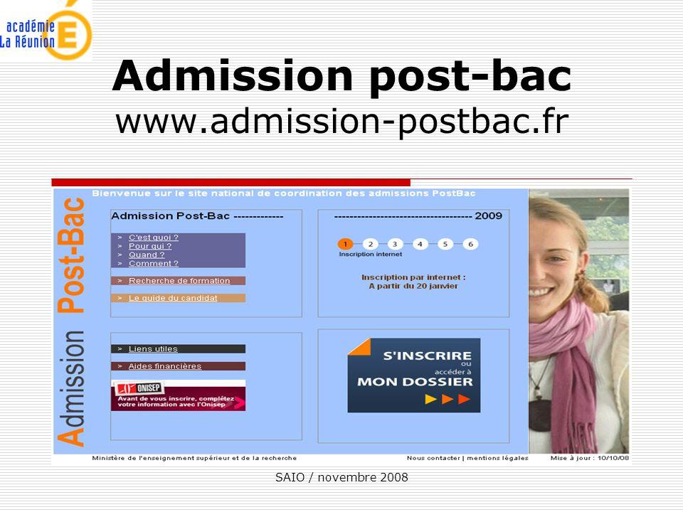 SAIO / novembre 2008 Admission post-bac www.admission-postbac.fr
