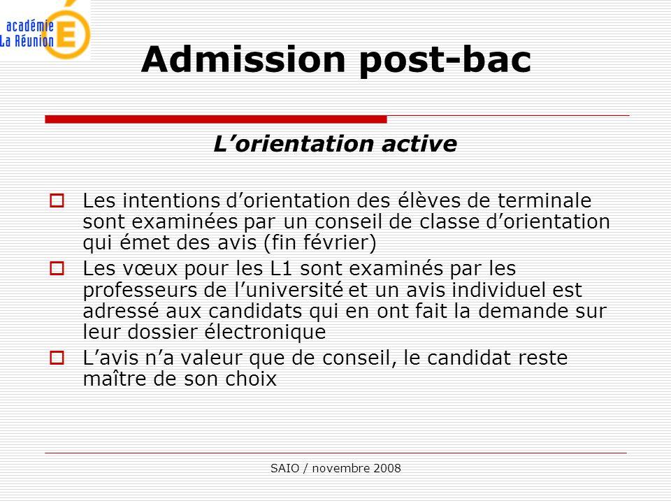 SAIO / novembre 2008 Lorientation active Les intentions dorientation des élèves de terminale sont examinées par un conseil de classe dorientation qui