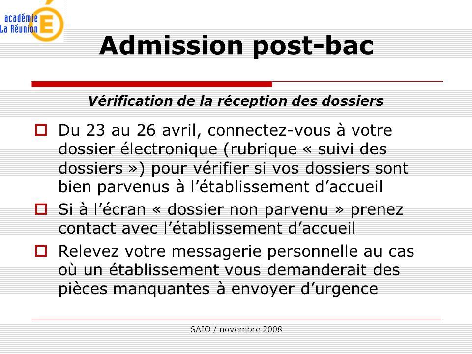 SAIO / novembre 2008 Vérification de la réception des dossiers Du 23 au 26 avril, connectez-vous à votre dossier électronique (rubrique « suivi des do