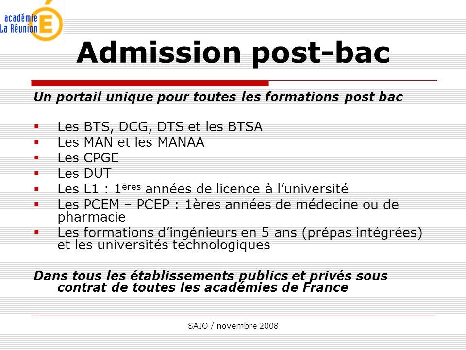 SAIO / novembre 2008 Un portail unique pour toutes les formations post bac Les BTS, DCG, DTS et les BTSA Les MAN et les MANAA Les CPGE Les DUT Les L1