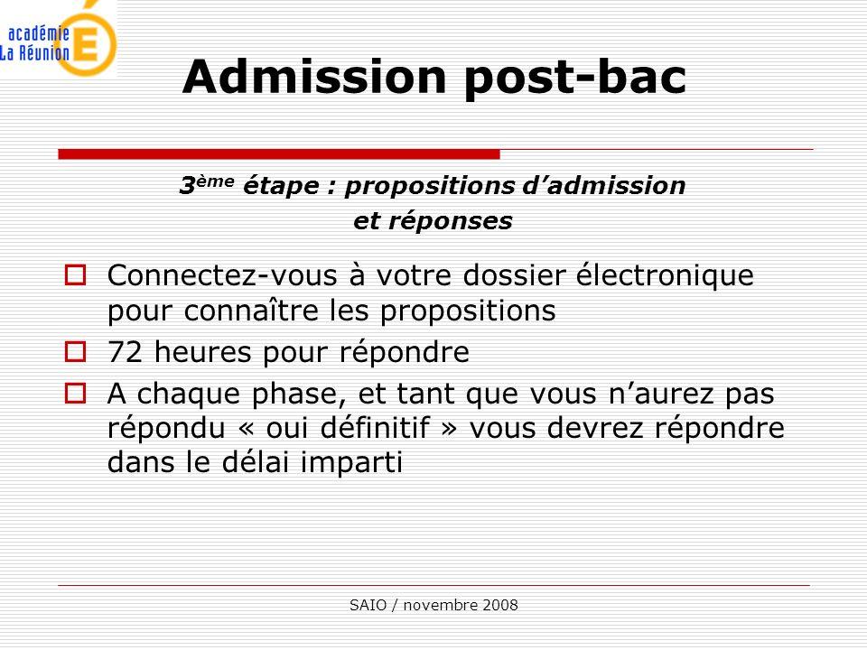 SAIO / novembre 2008 3 ème étape : propositions dadmission et réponses Connectez-vous à votre dossier électronique pour connaître les propositions 72